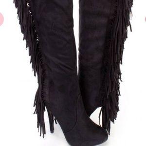 Shoes - BLACK SIDE FRINGE